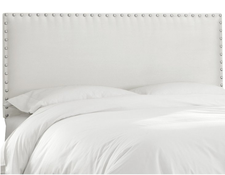 Loren Nail-Button Headboard, White