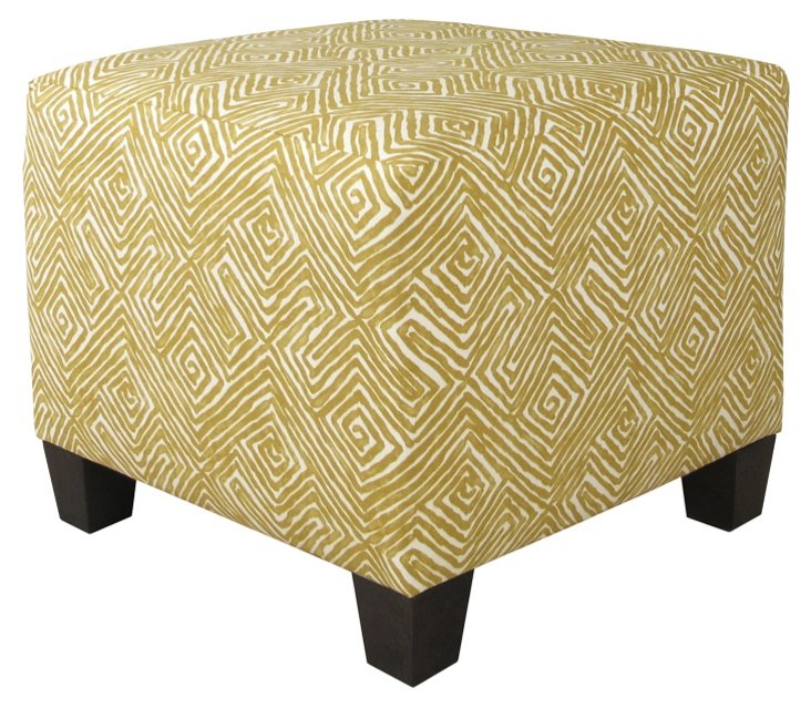 Berit Square Cotton Ottoman, Mustard