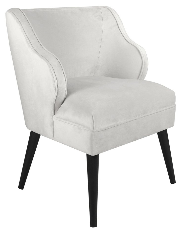 Kira Velvet Chair, White
