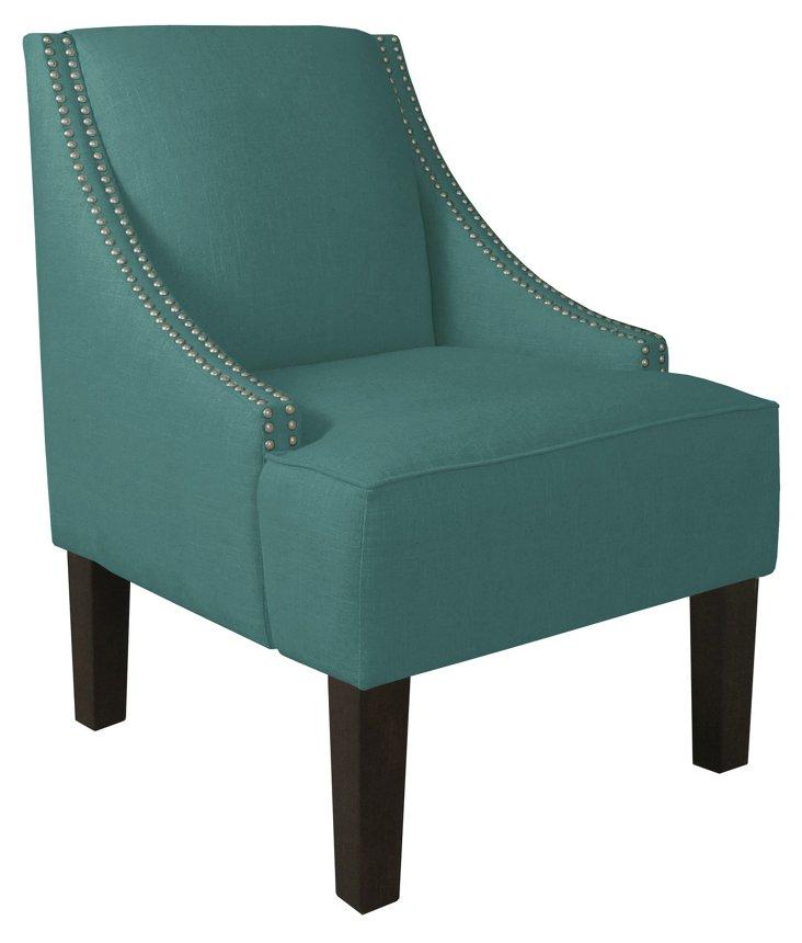 Cam Swoop-Arm Chair, Laguna Linen