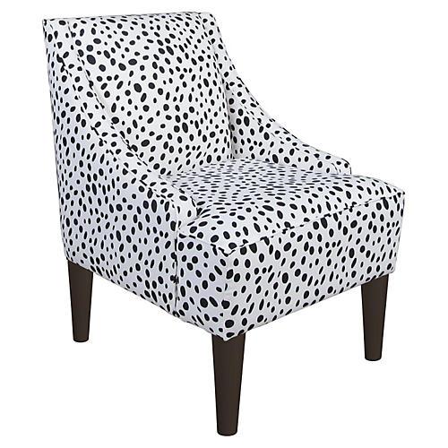 Quinn Swoop-Arm Chair, Black Dot