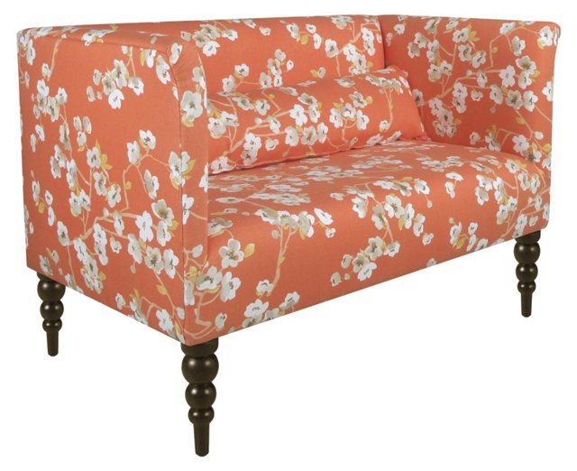 "Whitney 52"" Linen Settee, Orange"