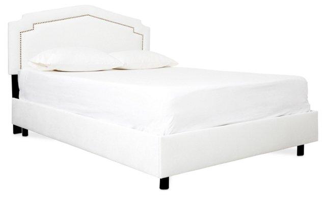 Grace Velvet Bed, White