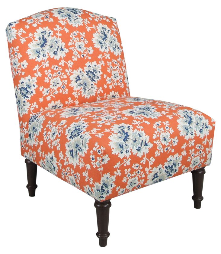 Clark Slipper Chair, Orange/Blue Floral