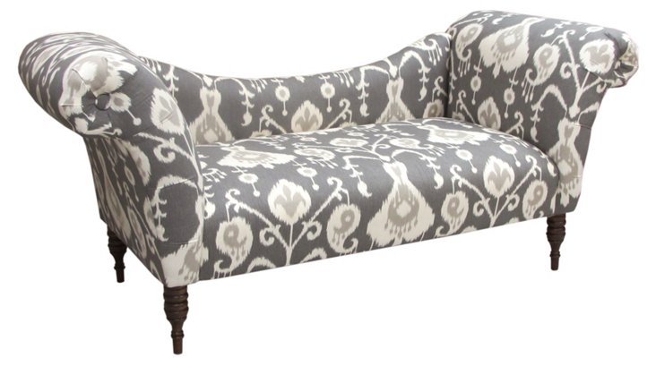 Cameron Chaise, Gray Ikat