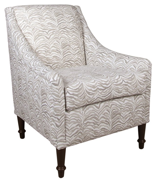 Holmes Accent Chair, Gray/White Zebra