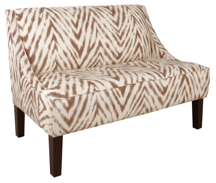 "Thornton 49"" Swoop-Arm Settee, Brown"