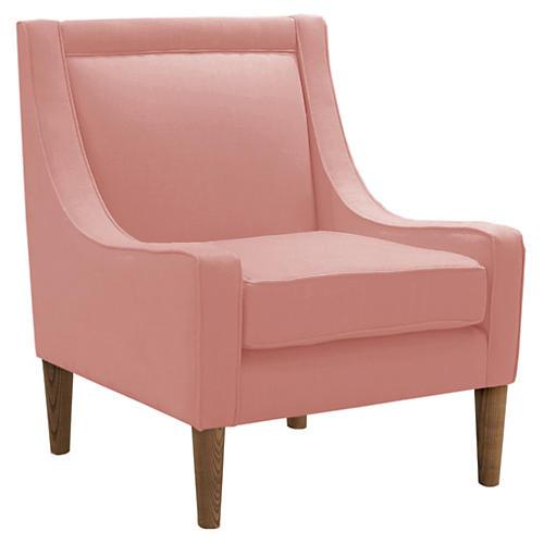 Scarlett Swoop-Arm Chair, Pink Linen