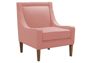 Scarlett Swoop-Arm Chair, Pink Linen*