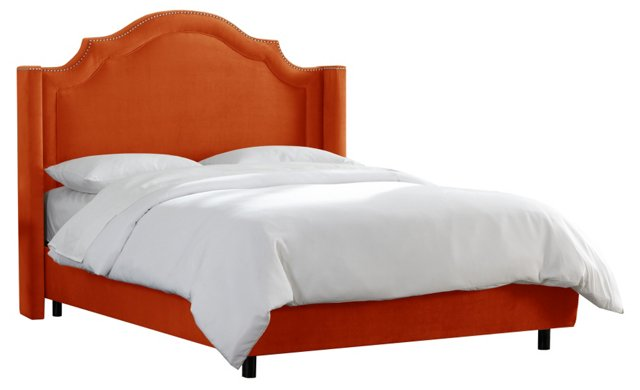 Tory Nail-Button Wingback Bed, Mango