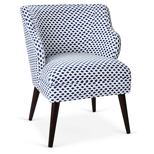 Kira Accent Chair, Navy Dot