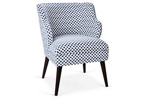 Kira Accent Chair, Navy Dot