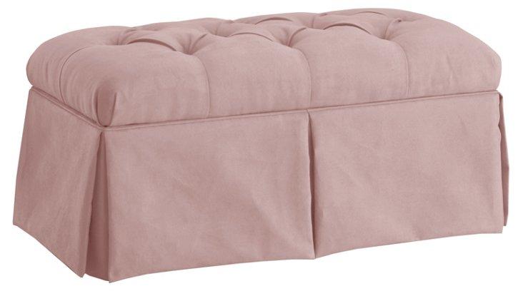 "Olivia 36"" Skirted Storage Bench, Blush"
