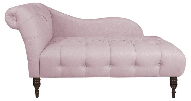 Francis Tufted Chaise, Quartz Linen