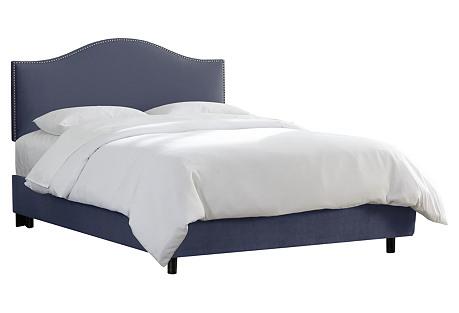 Tallman Bed, Blue Velvet