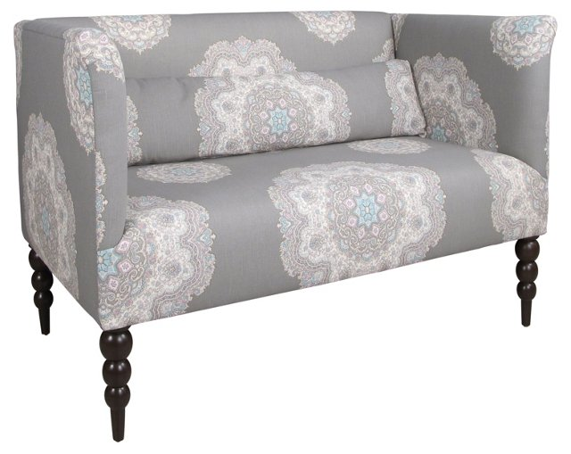 "Whitney 52"" Cotton Settee, Gray/Blue"
