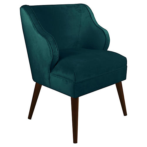 Kira Accent Chair, Peacock Velvet