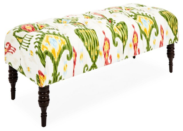 "Stanton 50"" Tufted Bench, Green/Multi"