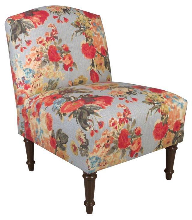 Clark Slipper Chair, Blue/Rose