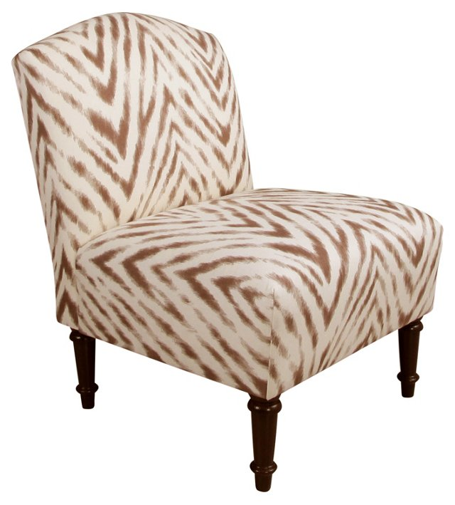 Clark Slipper Chair, Brown/Cream Zebra
