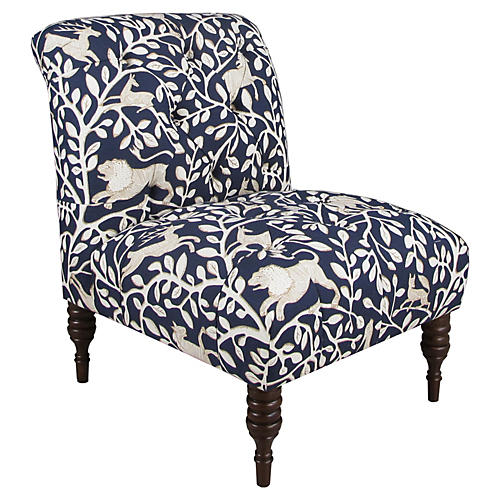 Eloise Tufted Slipper Chair, Navy Pantheon