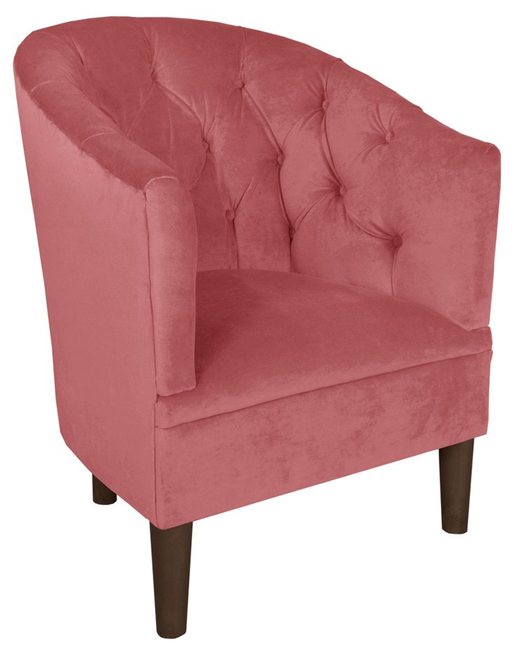 Blaire Cotton Tufted Tub Chair, Rose