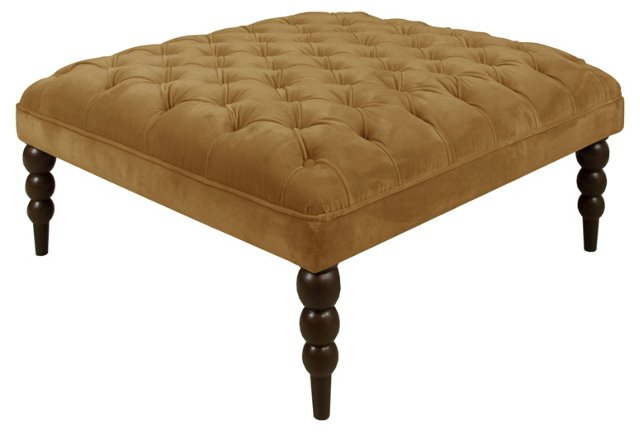 Dean Tufted Cocktail Ottoman, Moccasin