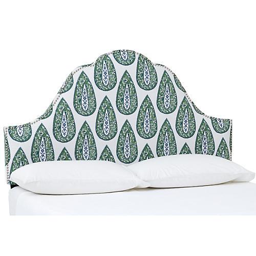 James Nail-Button Headboard, Green Bindi