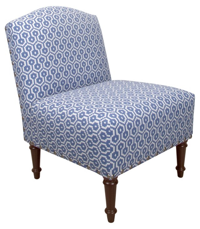 Clark Cotton Slipper Chair, Periwinkle