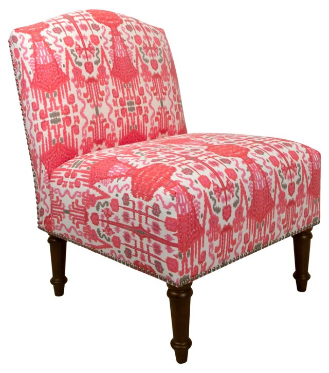 Clark Nail-Trim Slipper Chair, Red Ikat