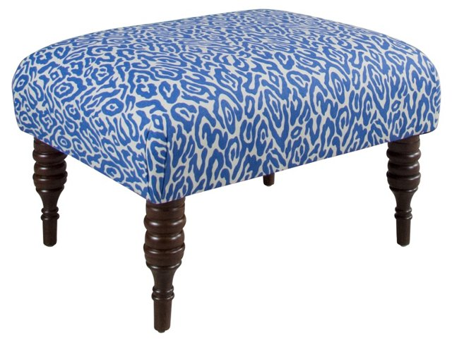 "June 25"" Ottoman, Blue/White Leopard"