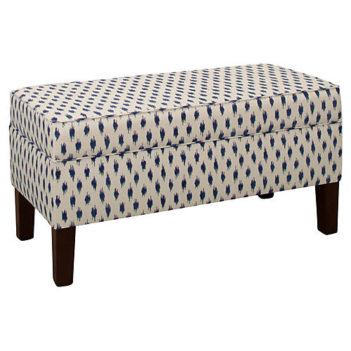 Breene Storage Bench, Navy Velvet Spot