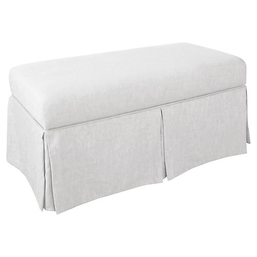 Hayworth Skirted Storage Bench, White Linen