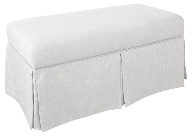 Hayworh Skirted Storage Bench, White