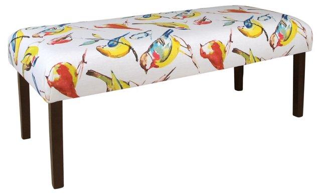 """Aria 51"""" Bird Bench, White/Multi"""