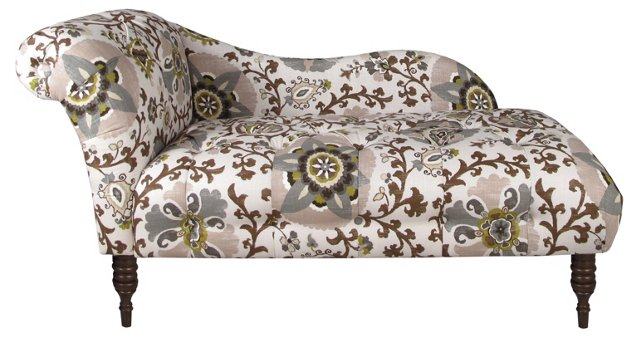 Francis Single-Arm Chaise, Gray/Green