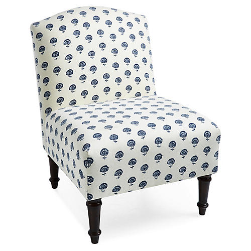 Clark Slipper Chair, Blue Dandelion