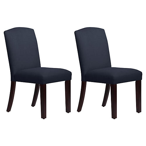 S/2 Marie Side Chairs, Navy Linen