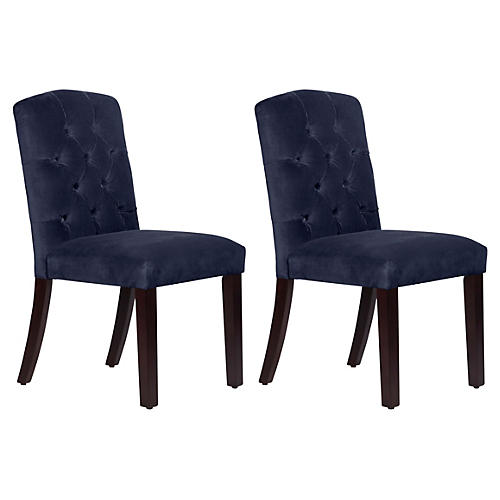 S/2 Lea Tufted Side Chairs, Navy Velvet