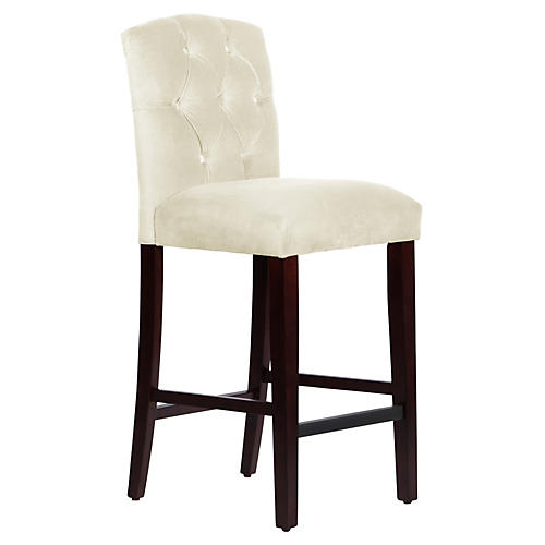 Leo Tufted Barstool, White
