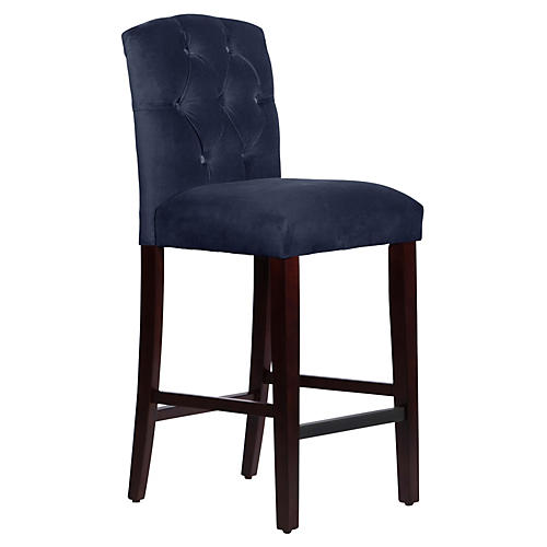 Leo Tufted Barstool, Navy