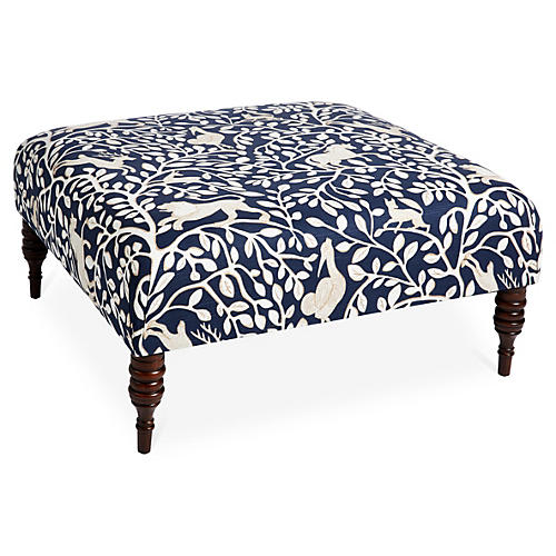 Ian Cocktail Ottoman, Navy Pantheon