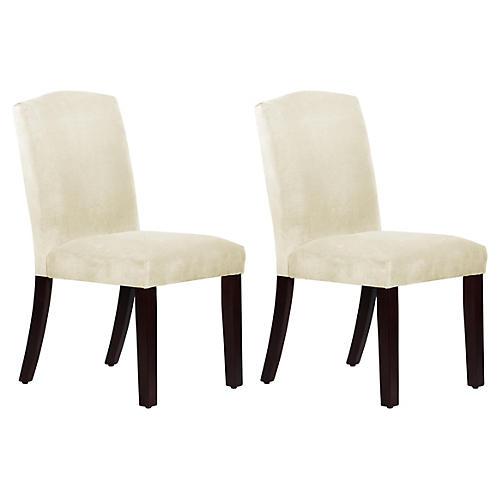 S/2 Marie Side Chairs, Cream Velvet