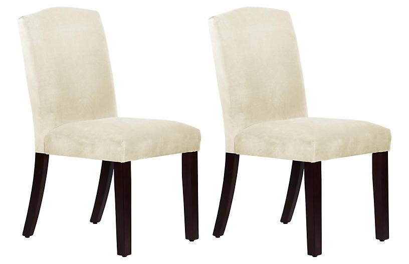 Marie Side Chairs, Cream Velvet