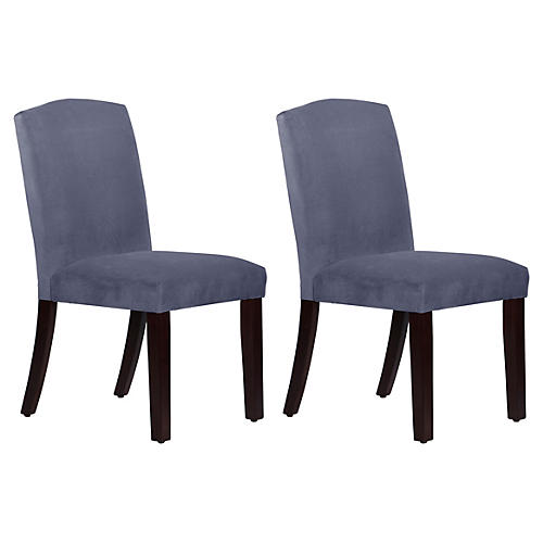 S/2 Marie Side Chairs, Blue Velvet
