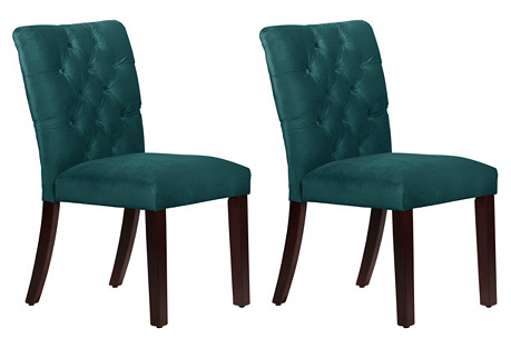 Kim Peacock Tufted Side Chairs, Pair