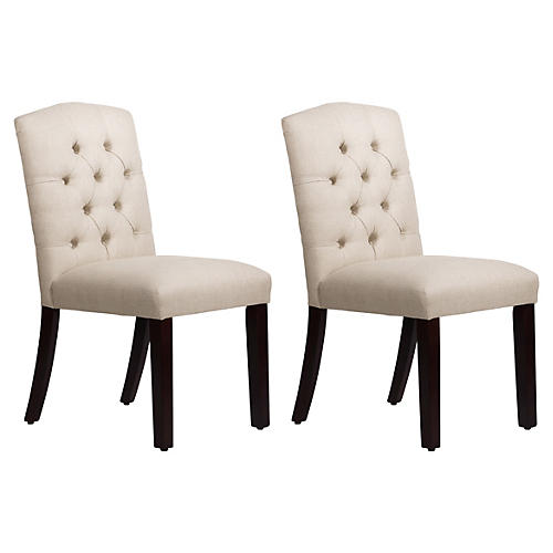 S/2 Lea Tufted Side Chairs, Talc