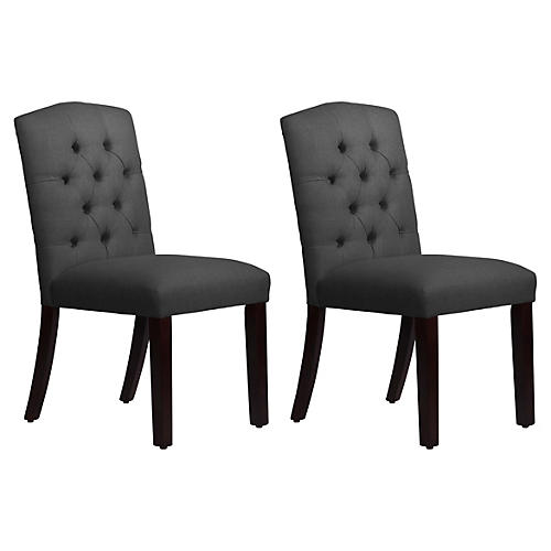 S/2 Lea Tufted Side Chairs, Charcoal