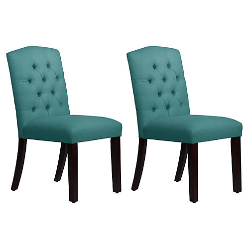 Lea Teal Linen Tufted Side Chairs, Pair