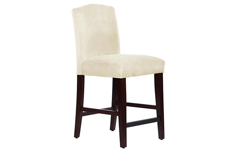 Marie Arched Counter Stool, Antiqued White Linen